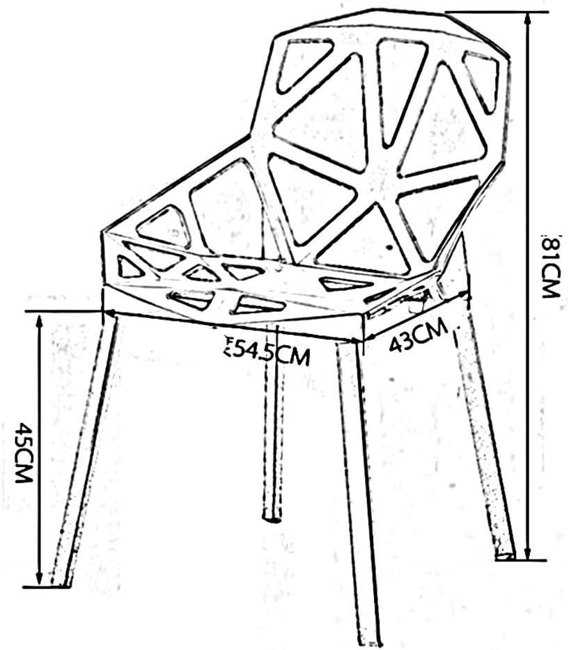 chaise FHW Moderne en Plastique Conférence des processus Multiples Dortoir étudiants Creux Creative Prévient antidérapante Pieds en Plastique (Color : White) Orange