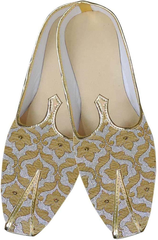 INMONARCH Mens Silver Brocade Wedding shoes golden Floral MJ0043