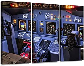 YKing1 Lateral View of Cockpit in Homemade Flight Simulator Wall Art Painting Pictures Print On Canvas Stretched & Framed Artworks Modern Hanging Posters Home Decor 3PANEL