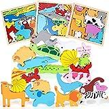 3 Piezas Puzzle de Madera de Animales Juguetes Bebes 3D Animales Puzzles Montessori Educativos Rompecabezas Juegos para Niños y Niñas Preescolar Juguetes Regalos para 1 Año 2 3 4 5 Años