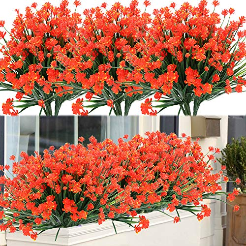 ArtBloom 8 Bundles Outdoor Artificial Fake Flowers UV Resistant Shrubs Plants, Faux Plastic Greenery for Indoor Outside Hanging Plants Garden Porch Window Box Home Wedding Farmhouse Decor (Orange Red)