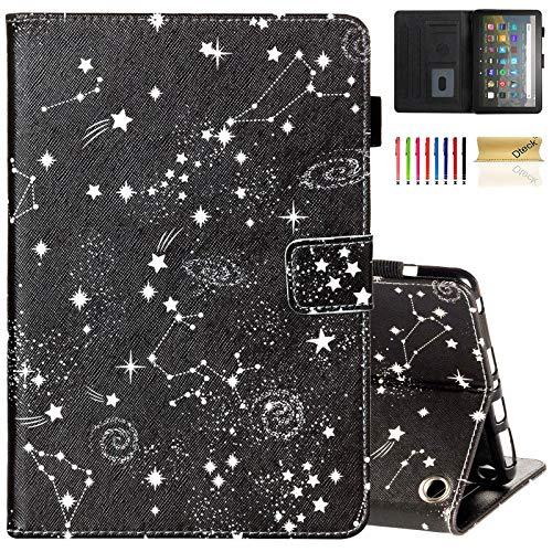 Dteck Fire HD 8 Case 2020, Magnetic Protector Slim Folio Wallet Stand Smart Flip Leather Cover for All-New Kindle Fire HD 8 and Fire HD 8 Plus Tablet (10th Generation Released in 2020), Black Galaxy