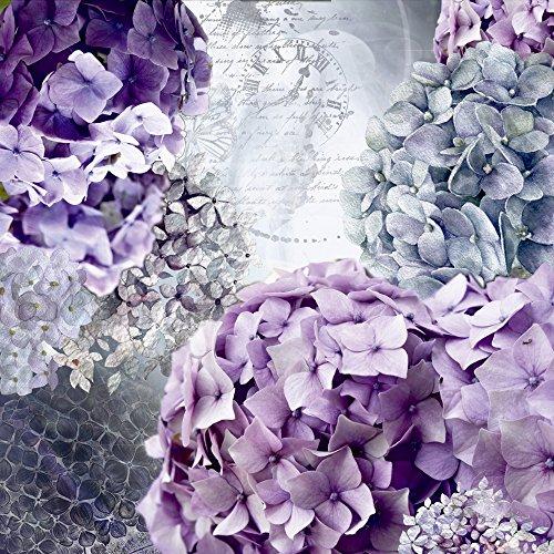 Artland Qualitätsbilder I Wandtattoo Wandsticker Wandaufkleber 40 x 40 cm Botanik Blumen Hortensie Collage Blau C7QT Blau und Grau Hortensie- Blütentraum im Sommer