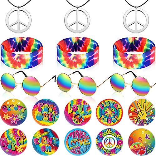 19 Pieces Hippie Costume Accessories Set, Include Peace Sign Necklace, Rainbow Hippie Headband, Retro Round Sunglasses and Hippie Button Pins Dressing Accessories for 60's or 70's Hippie Party Supplie
