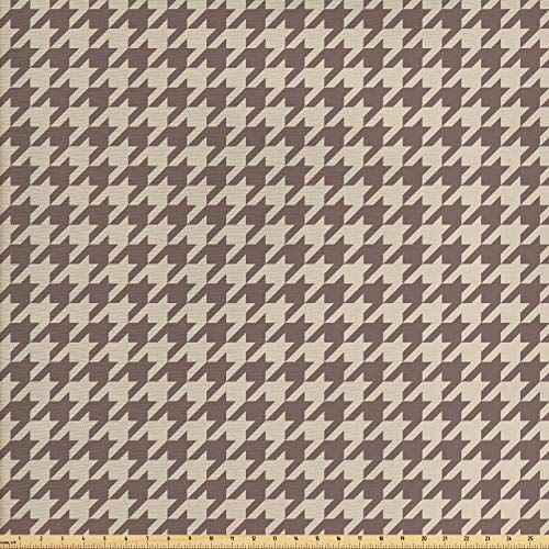 Lunarable Vintage Fabric by The Yard, Traditional Scottish Houndstooth Pattern in Pastel Colors Tartan Plaid Retro, Decorative Fabric for Upholstery and Home Accents, 2 Yards, Brown Umber