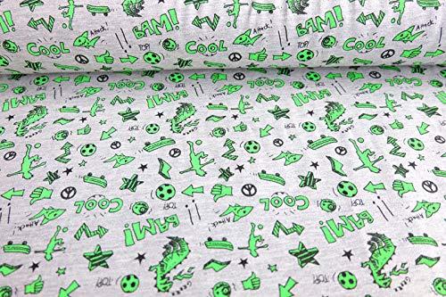 Qualitativ hochwertiger, gemusterter Jersey Stoff mit coolen Motiven in Neon Grün auf Melangegrau als Meterware zum Nähen von Kinder- und Baby Kleidung, 50 cm