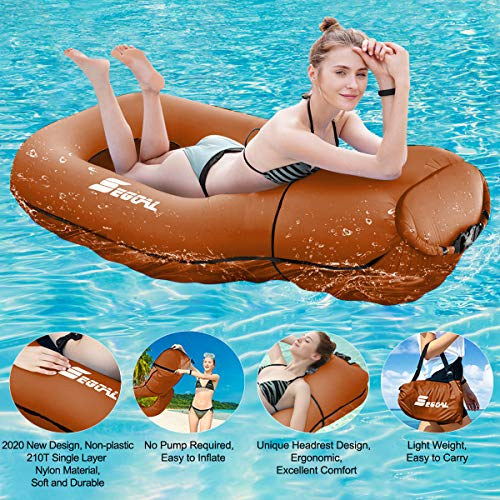 2020 Pool Floats Inflatable Floating Lounger Chair Water Hammock Raft Swimming Ring Pool Toy for...