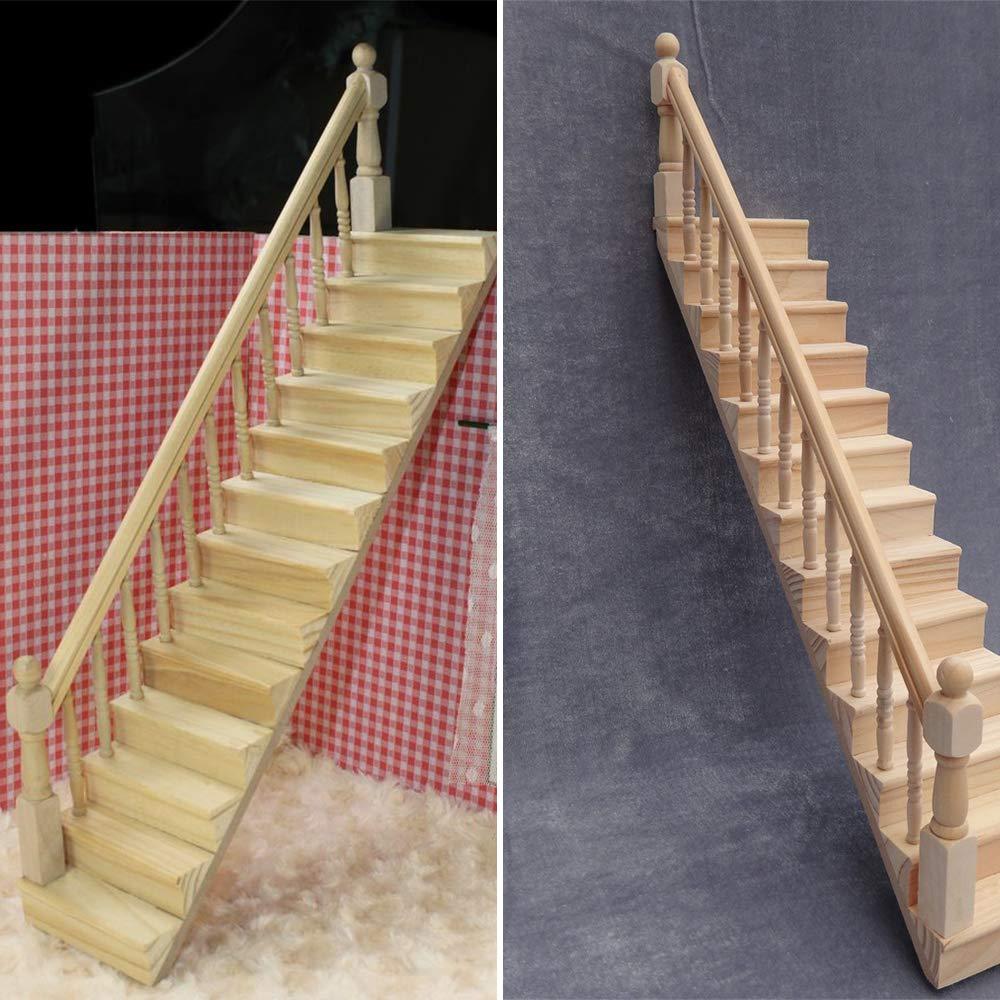 ZZM 1:12 Dolls House Escalera de Madera con barandilla Izquierda/Derecha Pre-ensamblado Pendiente de 45 Grados Miniatura Casa de Juguete Muebles Mini escaleras de Madera: Amazon.es: Hogar