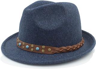 ハット メンズ フェルト ハット シャペーフェム フェドラ ハット ジェントルマン ソンブレロ トリルビー チャーチダービー クローチェ トップ キャップ LHZUS (Color : E ブルー, Size : 57-58cm)