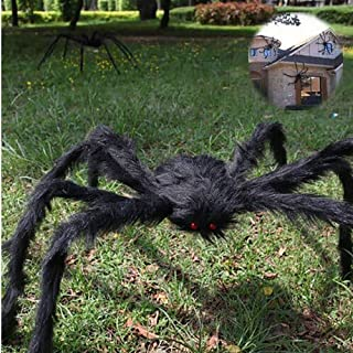 Creepy Giant Spider,Halloween Foldable Hairy Spider Props,Halloween Indoor and Outdoor Realistic Looking Decor,Black Huge Spider Party Set Yard Lawn Decor Props for Haunted House (90cm/35.43'')