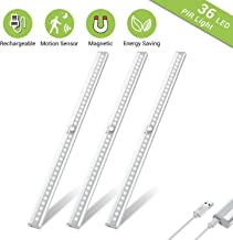 Wireless Under Cabinet Lighting, OxyLED 36 LED Motion Sensor Closet Lights, USB Rechargeable LED Kitchen Cabinet Lights, Motion Led Light Bar with Magnetic Strip, T-02Plus (3 Pack)