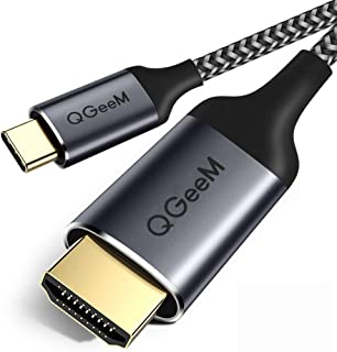 USB C to HDMI Cable Adapter,QGeeM 4FT Braided 4K@60Hz Cable Adapter(Thunderbolt 3 Compatible)Compatible with iPad Pro,MacBook Pro 2018 iMac,ChromeBook Pixel,Galaxy S9 Note9 S8 Surface Book HDMI USB-C