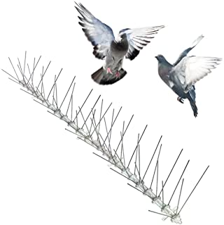 Bird-X STS-100 Regular Width 6-inch Stainless Steel Bird Spikes, Metal Roof Guard Pigeon Prevention, Rodent Deterrent, Ani...