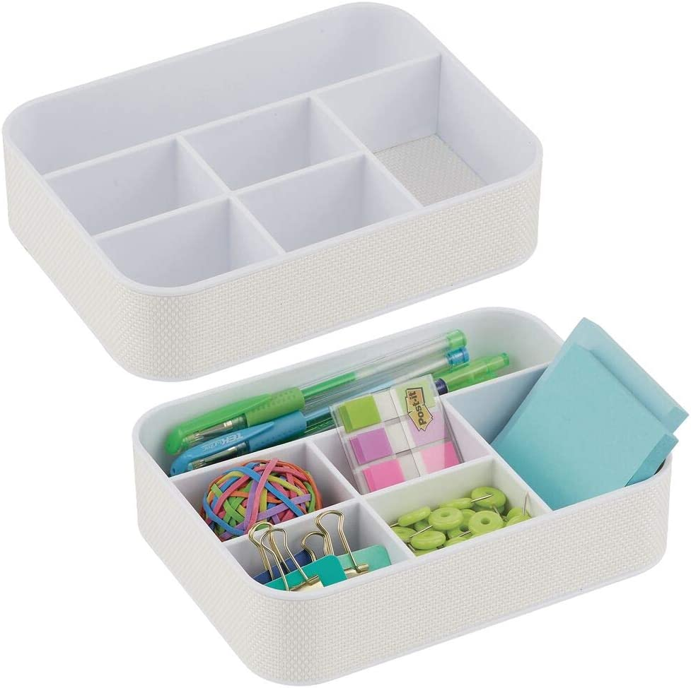 Attention brand mDesign Plastic Max 71% OFF Woven Home Office Storage Ca for Tray - Divided