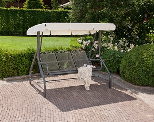 greemotion Hollywoodschaukel 3-Sitzer Toulouse – Gartenschaukel Metall in Grau-Anthrazit mit Dach in Creme – Outdoor Schwebebank für Garten, Balkon & Terrasse, wetterfest – bis ca. 300 kg - 2