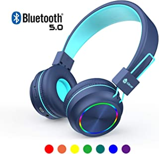 iClever Kids Headphones Bluetooth - Colorful Lights Headphones for Kids with MIC, Volume Control Foldable - Childrens Headphones on Ear for iPad Tablet Airplane School,Blue