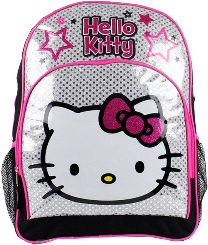 Sanrio Hello Kitty 16' Large School Backpack-Silver Polka Dot Stars