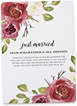 Just Married, Wine Red Burgundy Watercolor Floral Elopement Wedding Announcement Flat Cards, Marriage Announcement, Custom, Personalized - Set of 20
