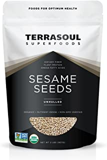 Terrasoul Superfoods Raw Organic Sesame Seeds (Unhulled), 2 Pounds