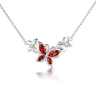 WINNICACA Collana in cristallo a farfalla in argento sterling argento birthstone ciondolo gioielli regali per le donne ado...