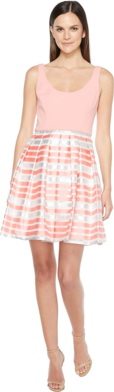 Aidan Mattox Womens Scoop Neck Shadow Stripe Dress