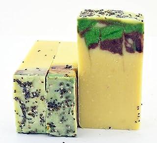 Natural Artesanal Orgánica menta Jabón y Chia semillas lujo para el cuidado de la piel jabón