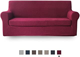 NICEEC Sofa Slipcover Red Sofa Full Cover Two-Tone 2 Piece Easy Fitted Sofa Couch Cover Universal High Stretch Durable Furniture Protector Country Style (3 Seater Wine Red)