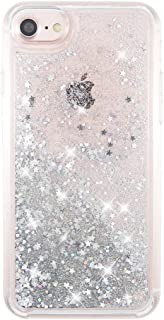 uCOLOR Silver Glitter Case Compatible for iPhone 6S/6/ iPhone 7/8 Shiny Waterfall Liquid Sparkling Quicksand Sparkle Luxury Cute Fashion Girls Women Protective Case for iPhone 8/7/6S/6(4.7
