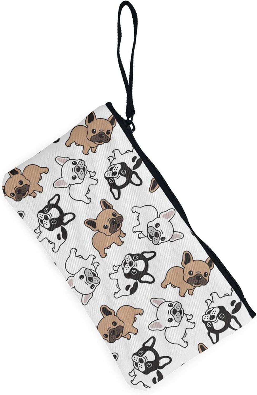 AORRUAM Cute French Bulldog Canvas Coin Purse,Canvas Zipper Pencil Cases,Canvas Change Purse Pouch Mini Wallet Coin Bag