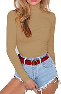 Women's High Neck Long Sleeve Bodysuit Solid Color Romper