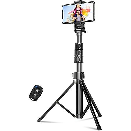 Cocoda Trépied Smartphone, 142cm Extensible Perche Selfie Trépied Tout-en-Un avec Télécommande Bluetooth, Selfie Stick Compatible avec iPhone 12 Pro Max/12 Mini/11 Pro Max/XR/X, Samsung, Gopro, Caméra
