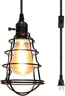 COOLWEST Industrial Plug In Pendant Light Vintage Edison Hanging Cage Pendant Lighting E26 Mini Pendant Light Fixture UL Listed 15Ft Cord On/Off Switch for Home Party Kitchen
