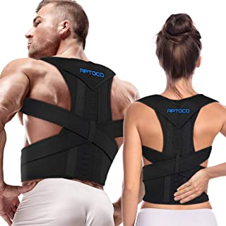 Aptoco Posture Corrector for Men and Women,Back Brace Adjustable Magnetic Support Belt Brace Improve Posture and Provides Lumbar Support for Lower and Upper Back Pain (R-Size, Balck)