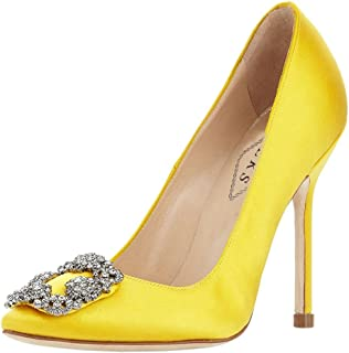 7c87cac19e78 ... Shoe With Ankle Strap. EKS Women s Satin Full Sole Diamonds Pointy  Closed Toe High Heel Pumps