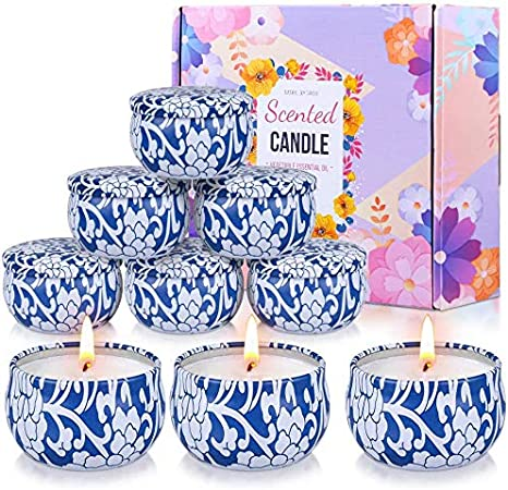 9 Pack Aromatherapy Candles for Home Scented Natural Soy Wax Portable Travel Tin Candles for Women Girl Best Friend Scented Candle Gift Set Wife Birthday