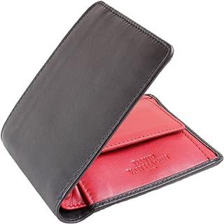 David Van Hagen Mens Contrast 4 Card Coin Bifold Wallet - Black/Red