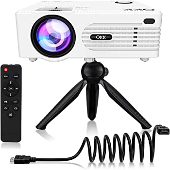 "Mini Projector, [Tripod Included] QKK Upgrade Projector for Outdoor Movies 200"" Display Full HD 1080P Supported Portable Projector, Compatible with Phones, TV Stick, PS4, HDMI, AV, Soundbar, Dual USB"