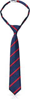Boys Pre Tied Zipper Ties For Boys Woven Boy Tie: Kids Aged 4-7 & 8-10 Wedding, Graduation, Uniform