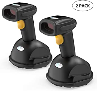 Esky Wireless Barcode Scanner 328 Ft Transmission Distance USB Cordless 1D Laser Automatic Barcode Reader Handheld Bar Code Scanner with Quick Charge Base Stand for Shop, Store,2 Pack