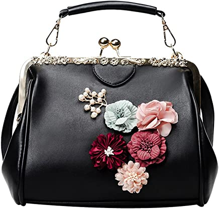 Abuyall Women s Retro Handbag Kiss Lock Shoulder Bag Vintage Purse Flowers eca5f02dd6dea