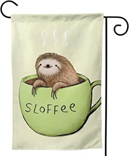 Sloth Garden Flag Coffee Cup House Flag Vertical Double Sided Yard Outdoor Decor Party 12.5 X 18 Inch