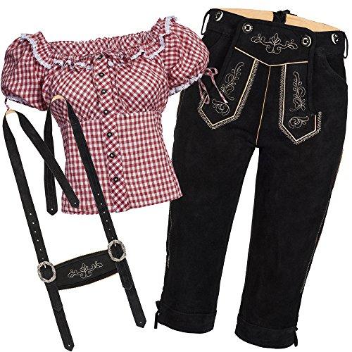 Bongossi-Trade Trachtenset Damen Trachten Lederhose schwarz mit Trachtenbluse rot weiß kariert 38-36