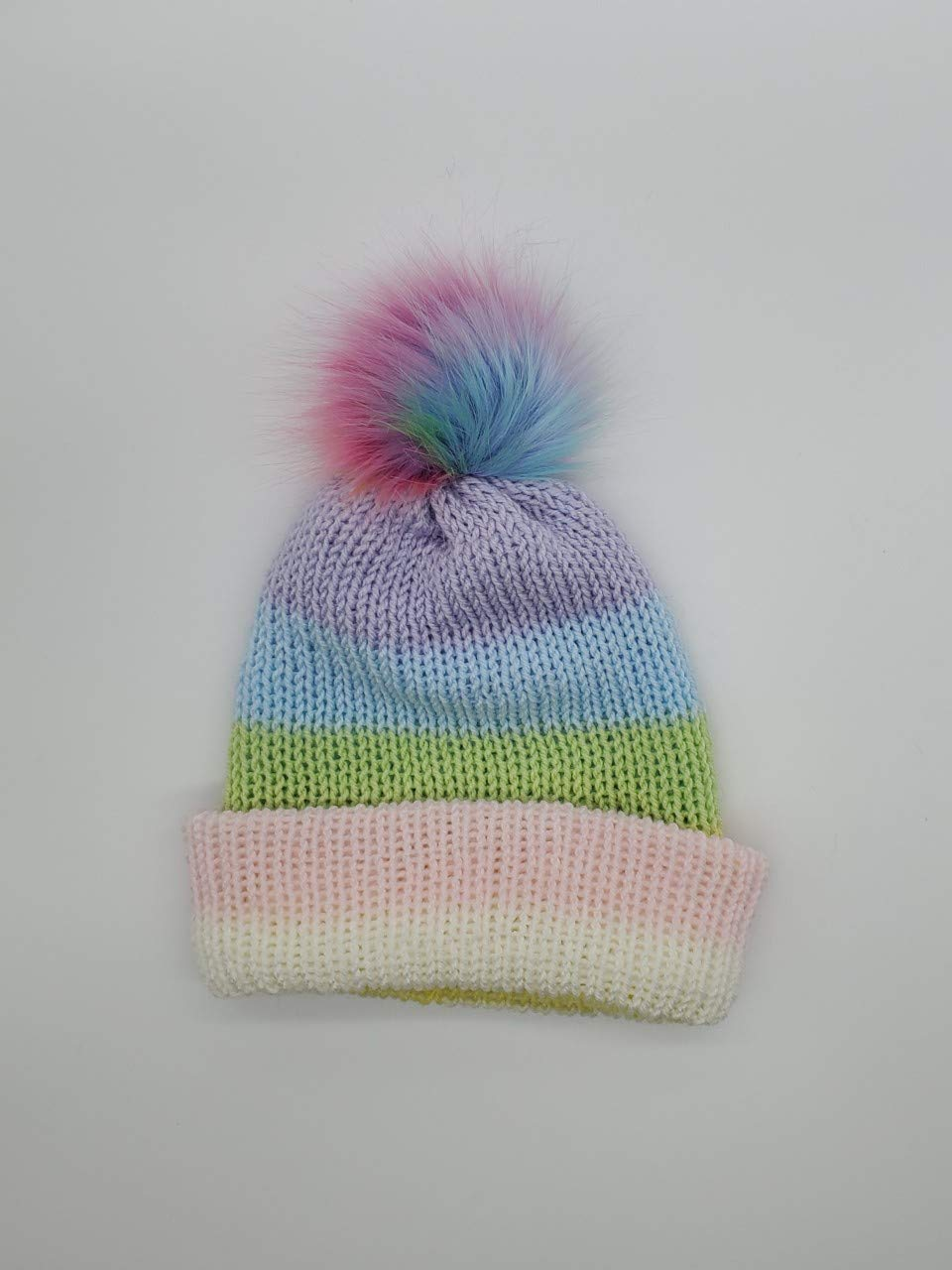 Children's pastel rainbow knitted Import hat with pom Fort Worth Mall
