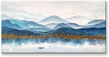 Handgeschilderd Olieverfschilderij - Abstract Blauw Modern 100% Handgeschilderd Landschapsschilderkunst Paletmes Textuur G...