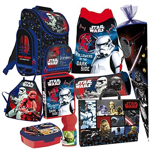 Star Wars 9 TLG. Schulranzen RANZEN Episode SCHULTÜTE 85 cm Tornister Malschürze Rucksack Tasche Set + Sticker von Kids4shop