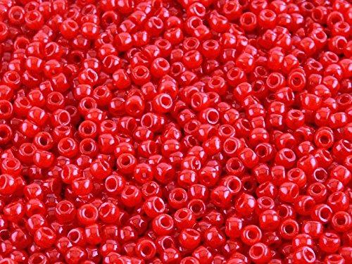 Matubo - 10gr (env. 220 pcs) Tchèque pressé perles de verre, Perles de rocaille 7/0 (3.5mm) Couleur: Opal Ruby