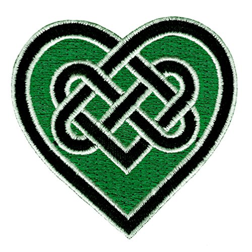 Celtic Heart Iron-On Patch Green Embroidered Gaelic Irish Love Knot