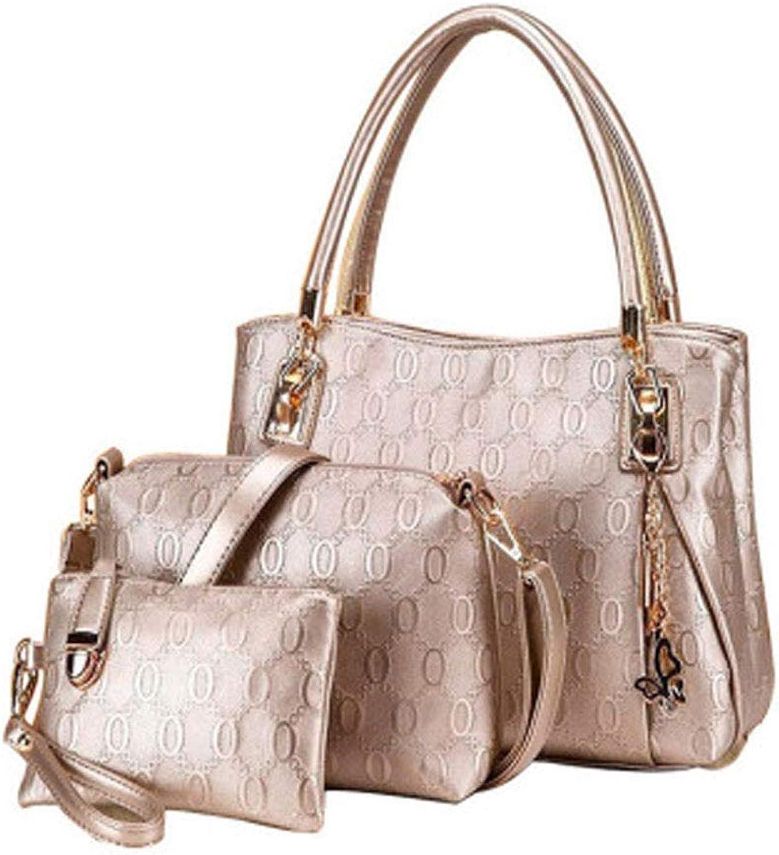 Ladies Handbag Borsa A Tracolla Da women in TRE Pezzi Borsa Di Moda Stampata (color   gold)
