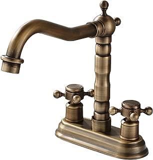 Rozin 4-inch Centre Hole Bathroom Sink Faucet 2 Knobs Basin Mixer Tap Antique Brass