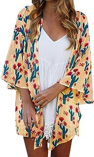 TINGZI Women Tees Loose Summer Floral Print Flare Sleeve Half Sleeved Cardigan Tops Loose Flowy Comfy Blouse